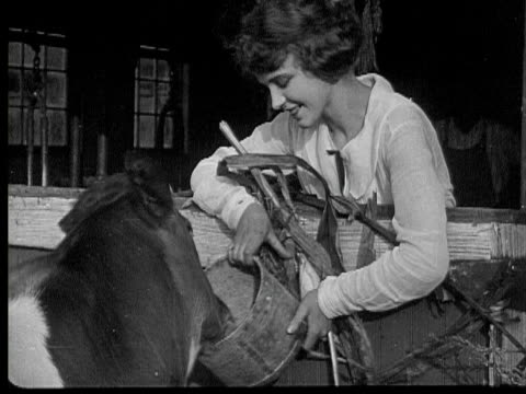 B/W 1920 MONTAGE MS Woman feeding young cow from bucket, Pennsylvania, USA