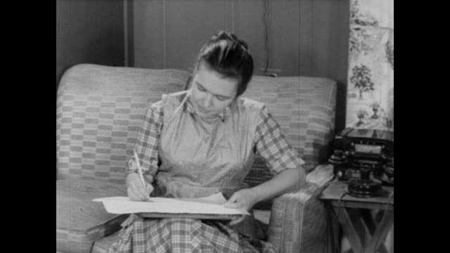 1960 woman fills out census form - form filling stock videos & royalty-free footage
