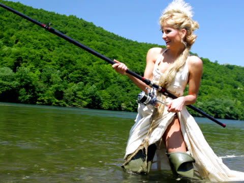 woman fishing (pal video) - fly fishing stock videos and b-roll footage