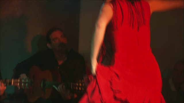 ms td tu woman flamenco dancing in nightclub, madrid, spain - flamenco dancing stock videos and b-roll footage