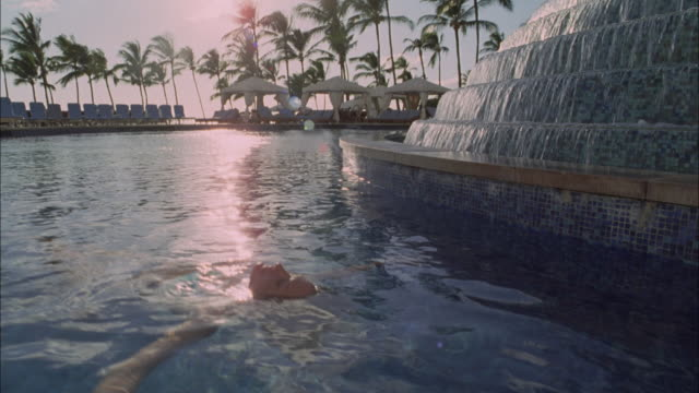 vídeos y material grabado en eventos de stock de ms, cs, woman floating in pool in luxurious resort, maui, hawaii, usa - palmera abanico