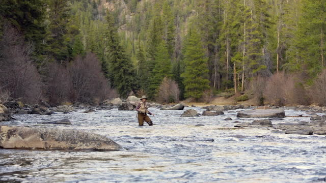 woman fly fishing - only mature women stock videos & royalty-free footage