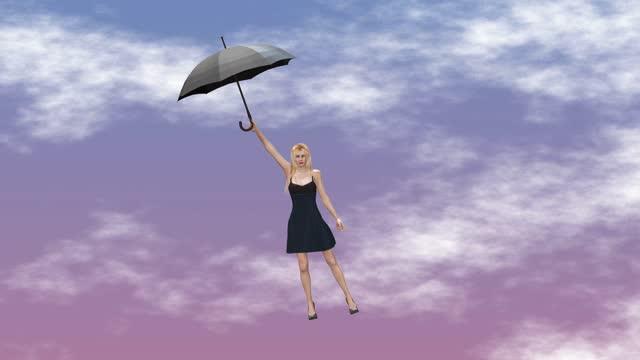 vídeos de stock e filmes b-roll de woman flying up with umbrella, concept video for commercial ads - trabalhadora de colarinho branco