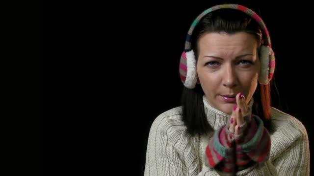woman freezing - raised eyebrows stock videos & royalty-free footage