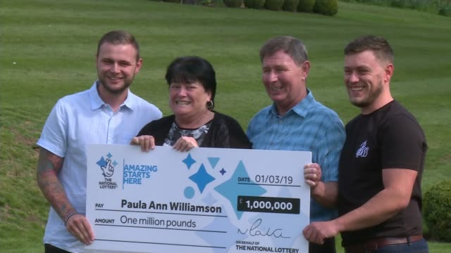 vídeos y material grabado en eventos de stock de woman from barnsley keeps lottery win secret from her sons england south yorkshire barnsley ext paula williamson husband geoff williamson and sons... - artículos de lotería