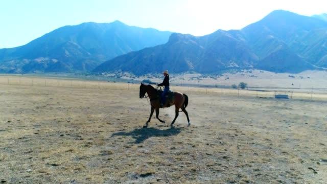 Frau auf Pferd im Galopp