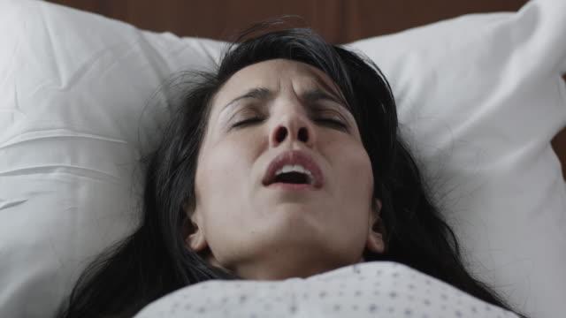 CU TU Woman giving birth in hospital / Payson, Utah, USA