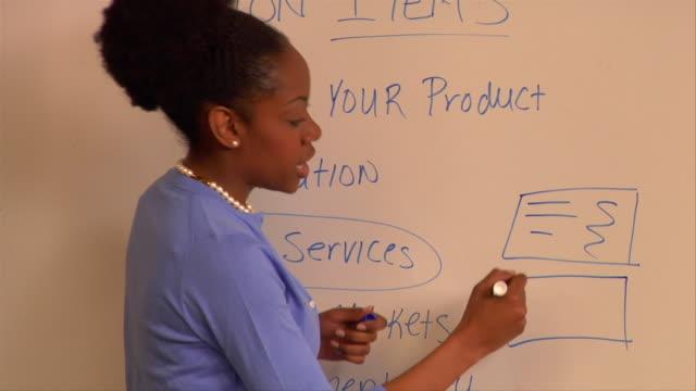 cu, pan, woman giving presentation in conference room - strategia di vendita video stock e b–roll