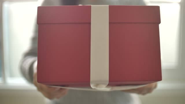 woman giving red gift box into camera - giving stock videos & royalty-free footage