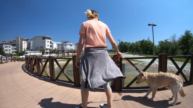 stockvideo's en b-roll-footage met vrouw gaat voor een wandeling met haar hond - alleen één mid volwassen vrouw