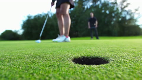woman golfs - putting stock videos & royalty-free footage