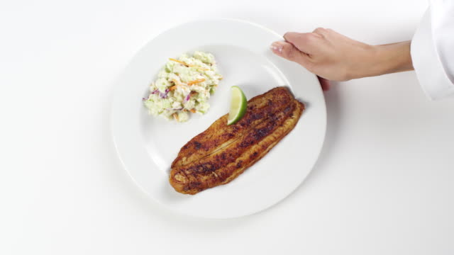 CU Woman hand entering setting down round white plate with blackened halibut fish and cole slaw / Omaha, Nebraska, United States
