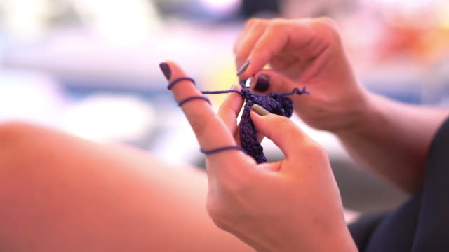 woman hand knitting - knitting needle stock videos & royalty-free footage