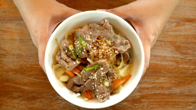 woman hand presenting donburi bowl - donburi stock videos and b-roll footage