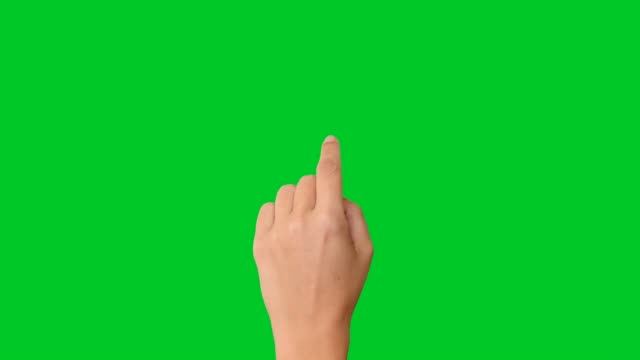 vídeos de stock e filmes b-roll de 4k woman hand touchscreen gestures on green screen - mão