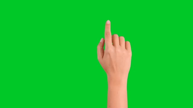4k woman hand touchscreen gestures on green screen - hand sign stock videos & royalty-free footage
