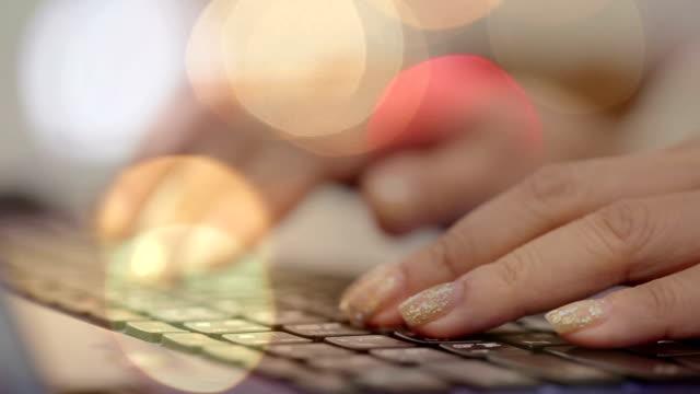 woman hand typing keyboard computer