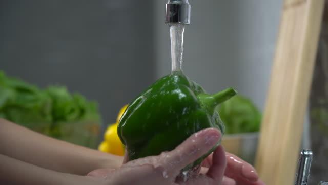 vídeos y material grabado en eventos de stock de mujer lavado de manos pimiento verde - ollas y cacerolas