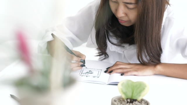woman hand while drawing and sketching a picture of cactus at  white table for relaxation - cactus drawing stock videos & royalty-free footage