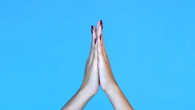 4k woman hands clapping - blue background - clapping stock videos & royalty-free footage