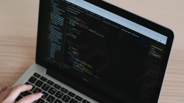 woman hands coding html and programming on screen laptop, web, developer. - web address stock videos & royalty-free footage