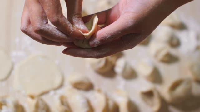 女性手作り餃子 - 飾りカーテン点の映像素材/bロール