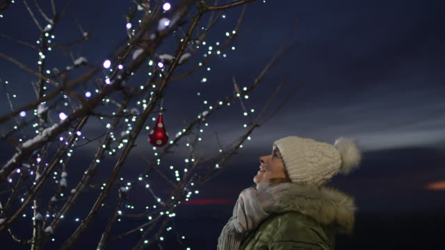ms woman hanging christmas ornament on outdoor tree with string lights - hanging stock videos & royalty-free footage