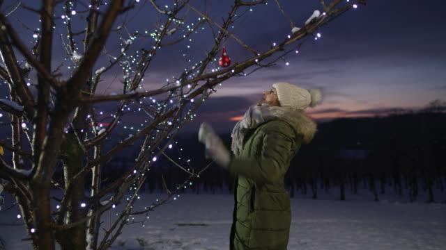 ms-woman hängenden weihnachtsschmuck am baum mit lichter im verschneiten weinberg - fairy lights stock-videos und b-roll-filmmaterial