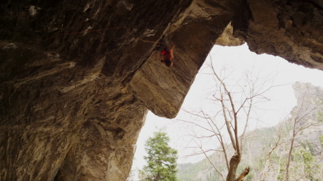 woman hanging upside-down and resting while rock climbing / american fork canyon, utah, united states - american fork canyon stock videos & royalty-free footage