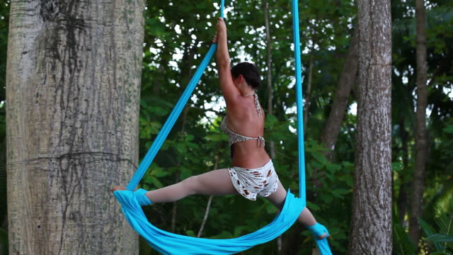 vídeos de stock, filmes e b-roll de ms ts woman hangs from trees holding onto fabric while doing splits and climbs up fabric, spins and performs gymnastics amongst large trees in tropical environment / montezuma, puntarenas, costa rica - kelly mason videos