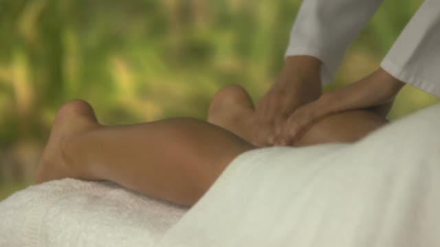 Woman having a leg massage, Cape Town South Africa