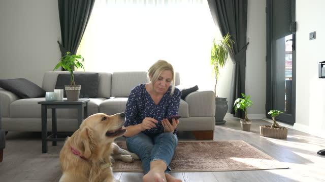 vídeos de stock e filmes b-roll de woman having fun with her golden retriever dog at home. - retriever