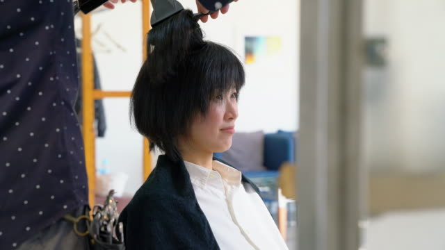woman having her hair blow dried by a hairdresser in a salon - beautification stock videos and b-roll footage