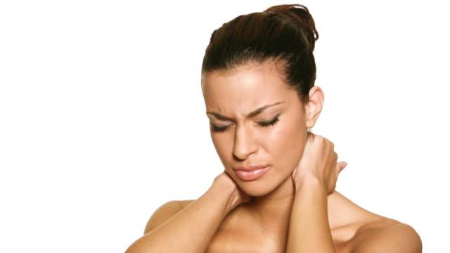 hd: woman having neckache - neck stock videos & royalty-free footage