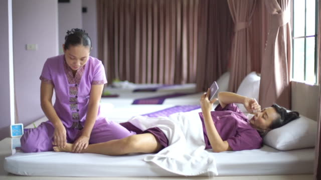 woman having relaxing with thai massage - lymphatic system stock videos and b-roll footage