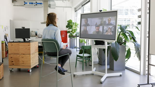woman having video call with team - germany stock videos & royalty-free footage