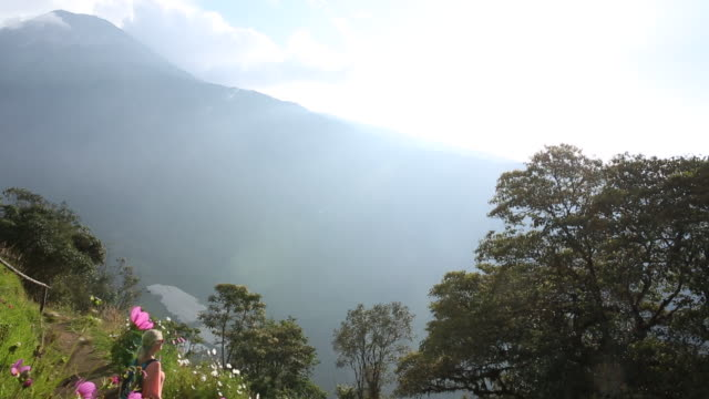 woman hikes along of mountain path, looking ahead - wanderstock stock-videos und b-roll-filmmaterial