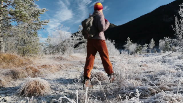 woman hiking  in a frozen mountain landscape - karwendel mountains stock videos and b-roll footage