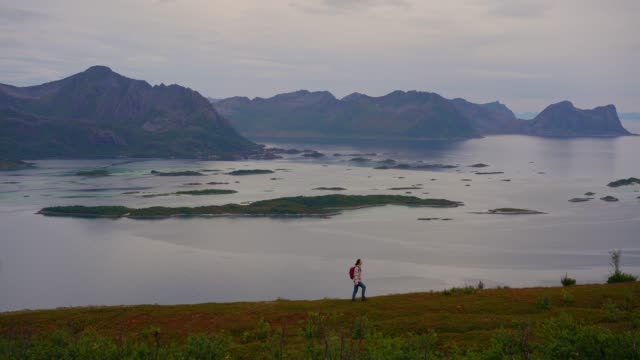 woman hiking  in mountains  on senja island in fog - hiking stock videos & royalty-free footage