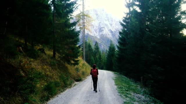 Woman  hiking   in the Alps in Austria