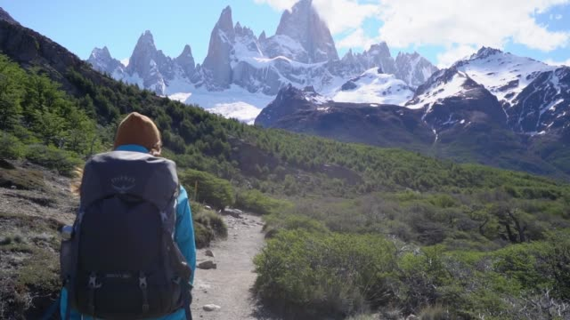 vídeos de stock e filmes b-roll de woman hiking near  fitz roy mountain in patagonia - parque nacional