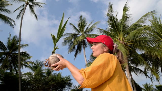 stockvideo's en b-roll-footage met woman hold coconut sprout in front of palm trees - baseballpet