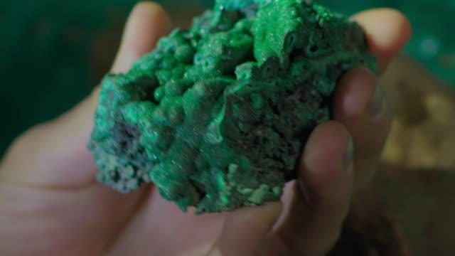 cu woman holding malachite - rock stock videos & royalty-free footage