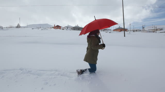 Woman holding red umbrella and walking in snow