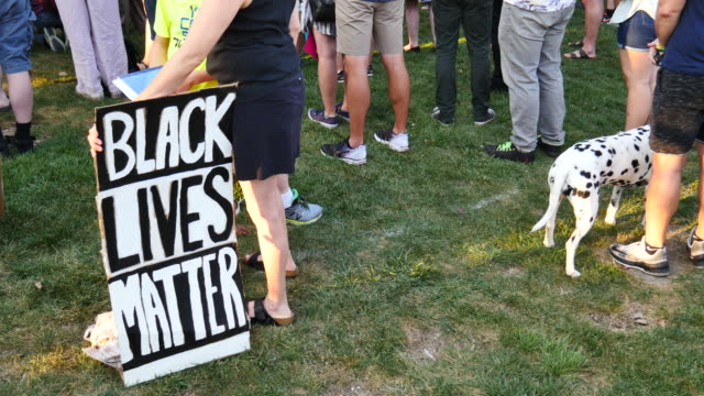 A woman holds a sign reading 'Black Live Matter' during a solidarity vigil for Charlottesville at the Monroe County Courthouse in Bloomington Ind for...