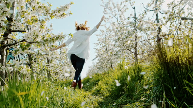 slo mo woman hopping among cherry blossoms - skipping along stock videos & royalty-free footage
