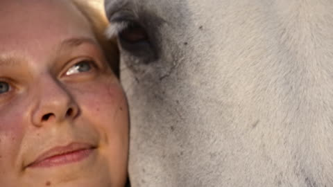 slo mo woman hugging her horse - stroking stock videos & royalty-free footage