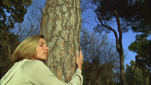 la cu woman hugging tree trunk with her eyes closed / venice, italy - tree hugging stock videos & royalty-free footage