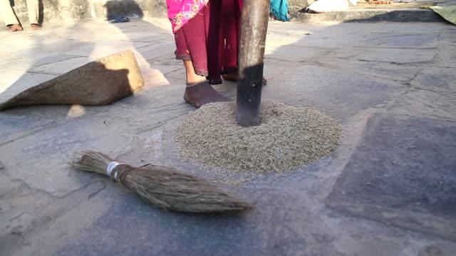 Woman husking whole wheat grain