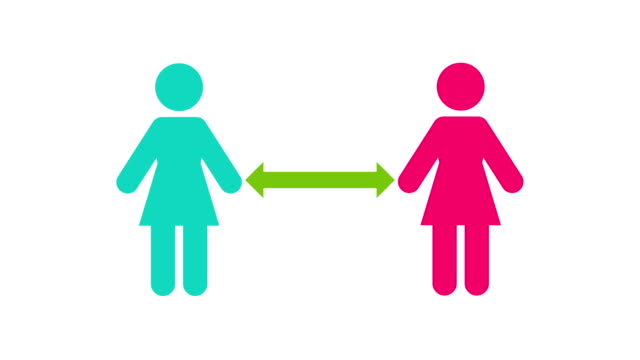 vídeos de stock e filmes b-roll de woman icons moving apart from each other in social distancing to avoid exposure virus, bacteria and other disease causing pathogens - regras